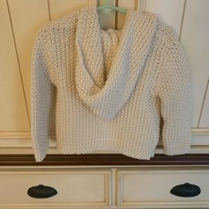 GAP Oatmeal Hand Knit Hooded Cardigan Sweater